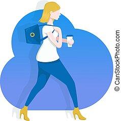 appartamento, caffè, donna, camminare., giovane ragazza, bibite