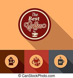 appartamento, caffè, elementi, disegno