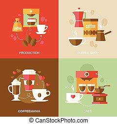 appartamento, caffè, icone