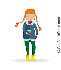 appartamento, caffè, illustration., lei, tazza, vettore, ragazza, vestiti, hands., inverno