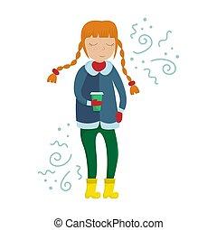 appartamento, caffè, inverno, lei, tazza, illustrazione, vettore, ragazza, doodles., hands., vestiti