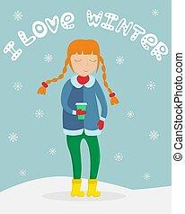 appartamento, caffè, inverno, lei, tazza, illustrazione, vettore, ragazza, lettering., hands., vestiti