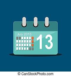 appartamento, calendario, icon., design.