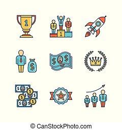 appartamento, calice, vettore, affari, razzo spaziale, ghirlanda, soldi, corona, iconset., vincitori, dollaro, growth., podio, piedistallo, alloro, lineart, ricompensa, minimo, popolazione
