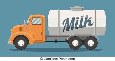appartamento, camion, latte