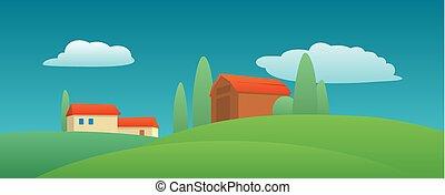 appartamento, campo, fattoria, cypress., illustrazione, colorare