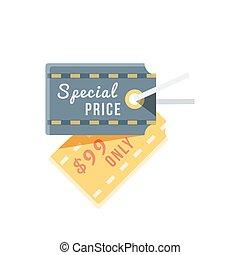 appartamento, cartellino del prezzo, disegno, speciale, icona