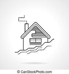 appartamento, casa, neve, vettore, nero, linea, icona