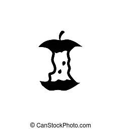 appartamento, ceppo, mela, vettore, stub, icona