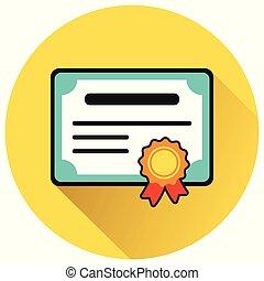 appartamento, cerchio, certificato, giallo, icona