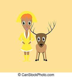 appartamento, cervo, illustrazione, fondo, ragazza, natale