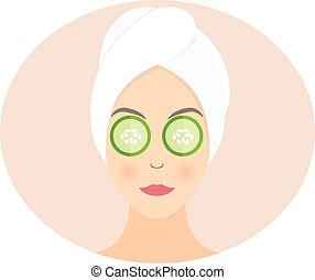 appartamento, cetriolo, donna, lei, maschera, illustrazione, vettore, disegno, eyes.