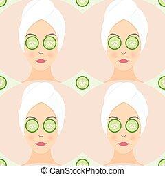appartamento, cetriolo, donna, lei, modello, maschera, seamless, illustrazione, vettore, disegno, eyes.