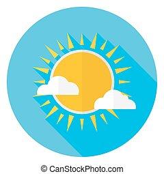 appartamento, cielo, sole, e, nubi, cerchio, icona, con, lungo, uggia