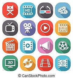 appartamento, cinema, film, icons., vettore, trendy