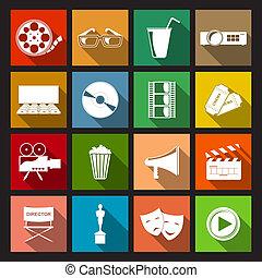 appartamento, cinema, icone