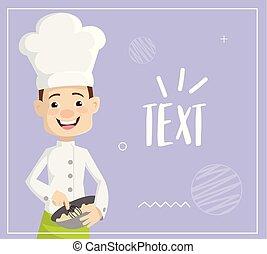 appartamento, ciotola, illustrazione, chef, vettore, disegno, miscelazione, cartone animato