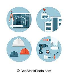 appartamento, circa, set, icone, ingegneria, costruzione