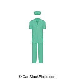 appartamento, classico, vestiti, medico, worker., chirurgico, suit., vettore, disegno, hat., maschio, breve-con maniche, camicia, pantaloni