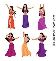 appartamento, clothes., fenditura, largo, hip., donne, ballo, tradizionale, gonna, differente, pancia, corpetto, bello, orientale, ballerini, bedle., style., pose, costumi, set, ragazze