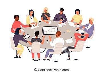 appartamento, colleghi, brainstorming., gruppo, discussion., affari, trattativa, seduta, idee, illustrazione, cartone animato, o, vettore, riunione, conferenza, impiegati, tavola, discutere, style., rotondo, formale