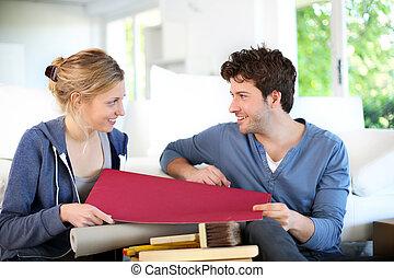 appartamento, colorare, coppia, carta da parati, giovane, ...