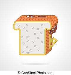 appartamento, colore panino, doppio, vettore, icona