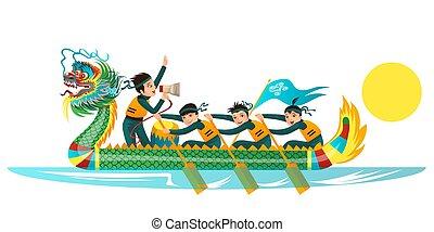 appartamento, colorito, illustrazione, draghi, vettore, bandiera, barca