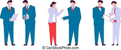 appartamento, colorito, parlare, persone, persone., moderno, carattere, contorno, affari, conversation., caratteri, cartone animato, colorito, style.