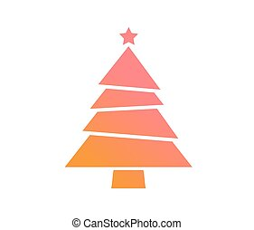 appartamento, colorito, pendenza, albero, vettore, natale, icona