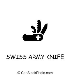 appartamento, coltello, svizzero, vettore, esercito, icona