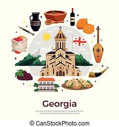 appartamento, composizione, manifesto, georgia