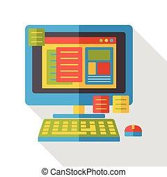 appartamento, computer, ufficio, icona