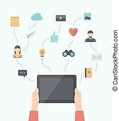 appartamento, comunicazione mobile, moderno, tecnologia illustrazione