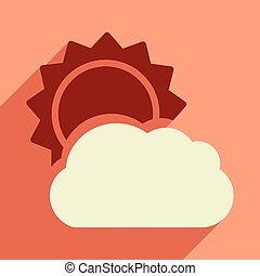 appartamento, con, uggia, icona, e, mobile, domanda, sole, nuvola