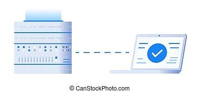 appartamento, concept., programmazione, laptop., illustrazione, server, vettore