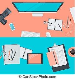 appartamento, concetti, workspace, disegno