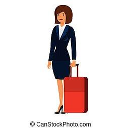 appartamento, concetto, affari, donna d'affari, isolato, illustrazione, viaggio, vettore, fondo, valigia, bianco, cartone animato