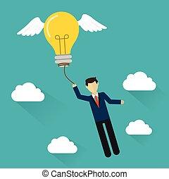 appartamento, concetto, affari, volare, idea, idea., uomo, design.