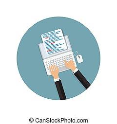 appartamento, concetto, codificazione, programmazione, illustrazione, vettore, fondo