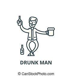 appartamento, concetto, contorno, ubriaco, segno, illustrazione, simbolo, vector., icona, linea, uomo