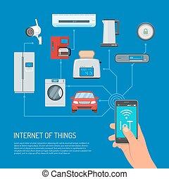 appartamento, concetto, cose, illustrazione, vettore, disegno, internet