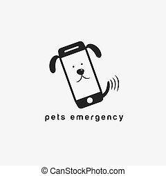 appartamento, concetto, disegno, animali domestici, emergenza