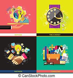 appartamento, concetto, disegno, icone affari