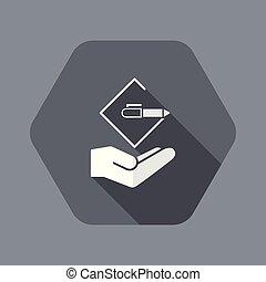 appartamento, concetto, -, disegno progetto, minimo, icona