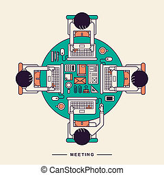 appartamento, concetto, disegno, roundtable, riunione