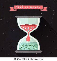 appartamento, concetto, disegno, tempo, soldi