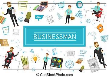 appartamento, concetto, elementi, uomo affari
