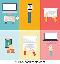 appartamento, concetto, elemento, computer, disegno, icona