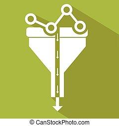 appartamento, concetto, filtro, tunnel, grande, concetti, illustrazione, creativo, disegno, analisi, processo, dati